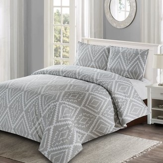 Style Quarters Ikat Geo 3pc Duvet Cover Set - Gray Ikat Abstract Geometric Pattern - 100% Cotton - Machine Washable - Includes 1 Duvet Cover + 2 Shams