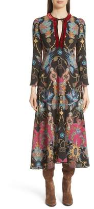 Etro Velvet Trim Tassel & Paisley Print Dress