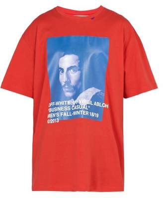 Off-White Off White Oversized Bernini Print Cotton Jersey T Shirt - Mens - Red