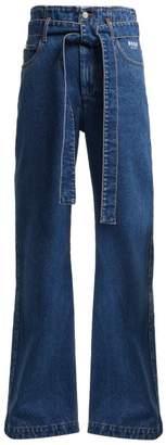 MSGM Tie Waist High Rise Jeans - Womens - Light Denim