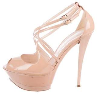 Casadei Patent Leather Platform Sandals Nude Patent Leather Platform Sandals