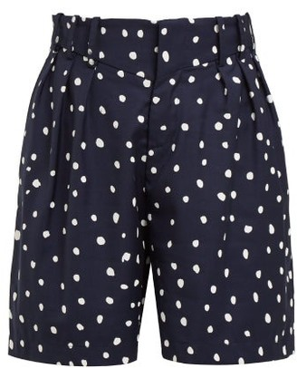 Charles Jeffrey Loverboy Polka Dot Print Wool Shorts - Womens - Navy Multi