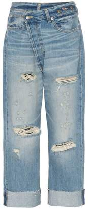 R 13 cross over waist distressed boyfriend jeans
