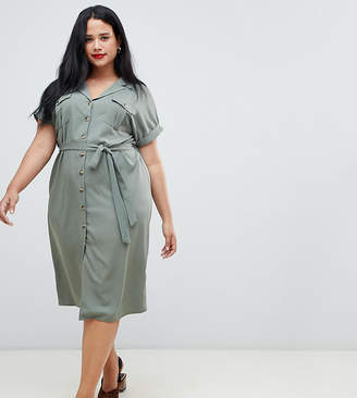 New Look Plus Curve button down utility dress
