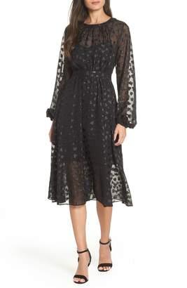 AVEC LES FILLES Tea Length Metallic Mesh Dress