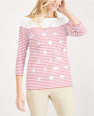 Karen Scott Embellished Printed Cotton T-Shirt