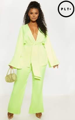 PrettyLittleThing Plus Neon Lime Woven Belt Detail Blazer