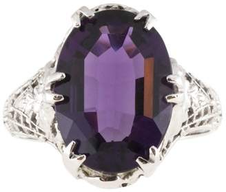 Vintage Art Deco Filigree 14K White Gold with 5.00ct Purple Amethyst Ring Size 6