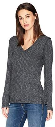 Michael Stars Women's Jasper Poorboy Long Sleeve V-Neck Laced Side Top