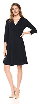 Lark & Ro Women's Three Quarter Sleeve Faux Wrap Dress