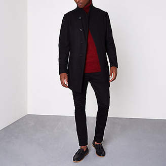 River Island Jack and Jones Premium black wool blend coat
