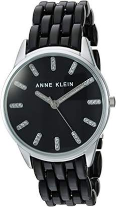 Anne Klein Women's AK/2617BKSV Glitter Accented Silver-Tone and Black Transparent Resin Bracelet Watch