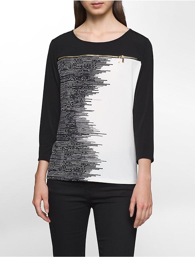 Calvin KleinColorblock Variegated Dot Zip Top