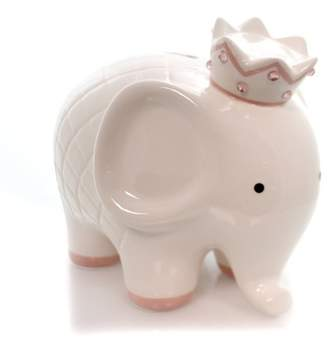 "Child to Cherish 7.5"" White W/Pink Coco Elephant Bank Crown Baby"