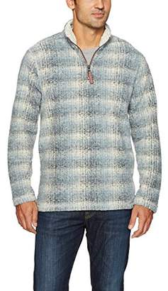 True Grit Men's Soft Melange Solid Plaid Blanket 1/4 Zip Pullover