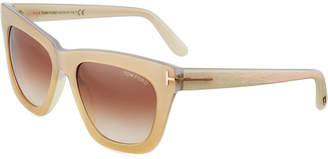 Tom Ford Cat-Eye Ridged Sunglasses, Brown