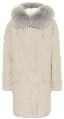 Yves Salomon Army Fur-trimmed cotton parka coat