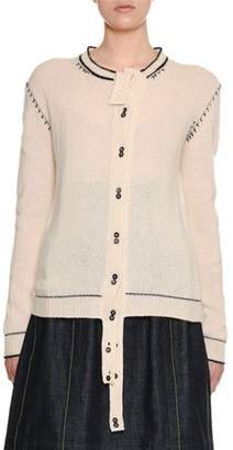 Marni Button-Front Cashmere Cardigan w/ Varsity-Stitch Detail