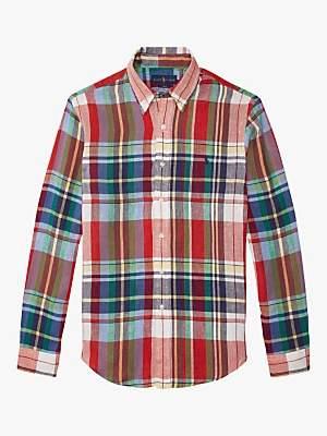 c4226147 Ralph Lauren Polo Linen Plaid Shirt, Apple/Navy Multi