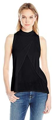 LAmade Women's Sleeveless Mock Neck Overlap Front Top