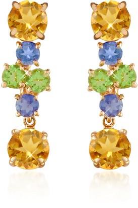 Forzieri Amethyst and Citrine Flower 18K Gold Earrings