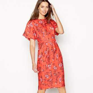 Debut - Red Floral Print Knee Length Shift Dress