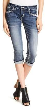 Grace In LA Denim Embellished Topstitched Capri Jeans