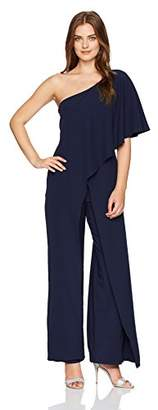 Marina Women's One Shoulder Jumpsuit with Cascade Ruffle Detailing
