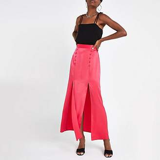 River Island Neon pink maxi skirt