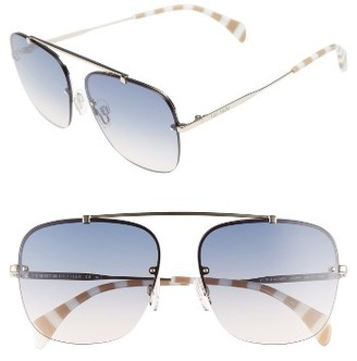 Women's Tommy Hilfiger Gigi 59Mm Gradient Lens Brow Bar Navigator Sunglasses - Light Gold/ Blue Gradient $139 thestylecure.com