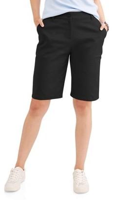Wonder Nation Juniors' School Uniform Stretch Twill Bermuda Shorts