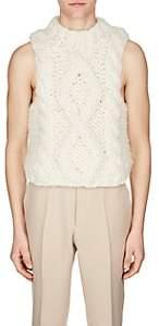Maison Margiela Men's Cable-Knit Alpaca-Blend Sweatervest - White