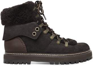 See by Chloe 20mm Suede & Shearling Hiking Boots