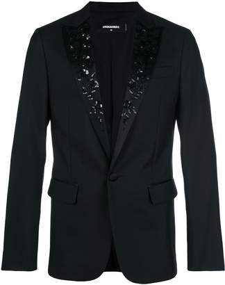 DSQUARED2 embroidered floral tuxedo jacket