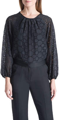David Lawrence Geo Lace Embroidered Blouse