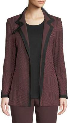 Misook Textured Knit Jacket w/ Border Trim