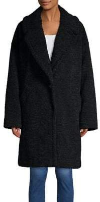 KENDALL + KYLIE Faux Fur Button Teddy Coat