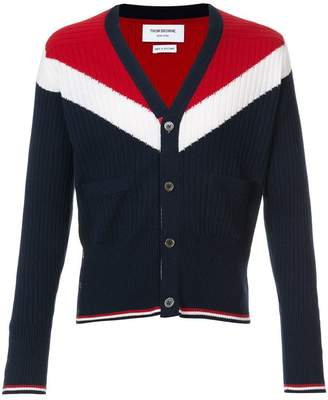 Thom Browne V-Neck Cardigan With Saddle Sleeves And Chevron In Ribbed Cashmere