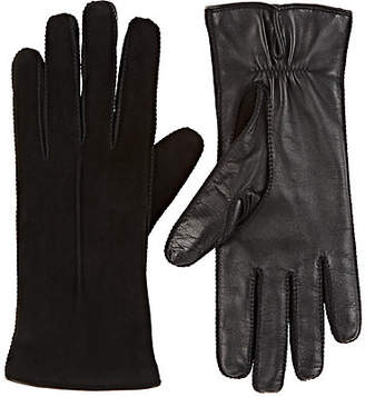 Barneys New York Women's Suede & Leather Gloves - Black