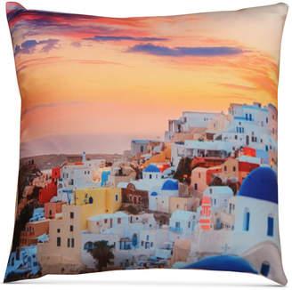 "Santorini Hallmart Collectibles LAST ACT! Hallmart Collectibles Graphic-Print 18"" Square Decorative Pillow"