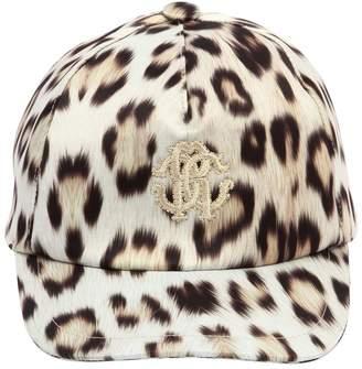 Roberto Cavalli Leopard Print Satin Baseball Hat