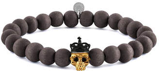 Tateossian Men's Natural Bead & Skull Bracelet, Size L