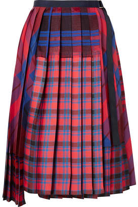Sacai Pleated Checked Satin And Cotton-canvas Wrap Skirt - Red