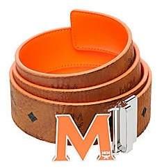 MCM Men's Claus Enamel M Reversible Belt in Black Logo Visetos