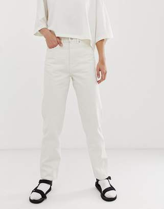 Weekday recycled edition straight leg jeans in off white