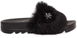 Colors of California 20mm Stars Lapin Fur Slide Sandals