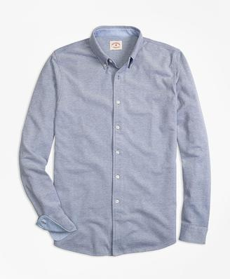 Oxford Knit Button-Down Shirt $59.50 thestylecure.com