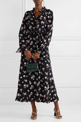 Les Rêveries Tie-front Ruffled Floral-print Silk-crepe Maxi Dress - Black