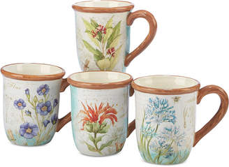 Certified International Herb Blossom Mugs, Set of 4