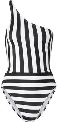 Norma Kamali Mio One-shoulder Striped Swimsuit - Black